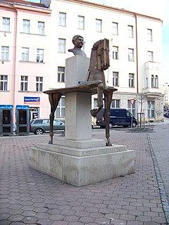 Statue of Jaroslav Hašek Sculpture in Prague, Czech Republic