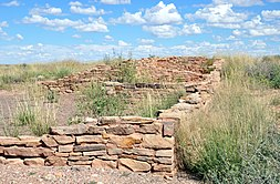 Ruins at Puerco Pueblo consisting of very low walls, about a meter (three feet) tall, of stacked reddish-brown rocks forming the rectangular shapes of a multi-room structure, surrounded by short greenish, yellow desert vegetation slightly taller than the walls