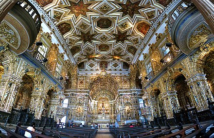 Interior of the Sao Francisco Church and Convent in Salvador, Bahia, one of the richest expressions of Brazilian baroque. Puro ouro.jpg