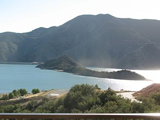 Vista del Lago Visitors Center - Chumash Island in Pyramid Lake seen from the visitor center.