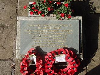 Quorn, Leicestershire - US war memorial plaque in Memorial Gardens