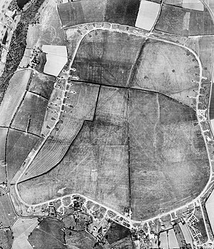 RAF Zeals - Aerial photograph of Zeals airfield the control tower, technical site and blister hangars are at the bottom (South), 24 March 1944.