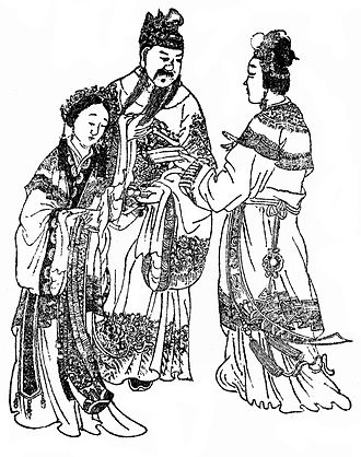 Emperor Xian of Han - A Qing dynasty illustration of Emperor Xian (centre), Consort Dong (left) and Empress Fu Shou (right)