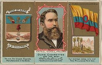Rafael Núñez (politician) - 1888 commercial color lithograph of Núñez