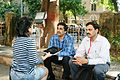 Rahul and Mandar during press interview during WikiConference India 2011.JPG