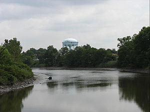Rahway, New Jersey - Rahway River and water tower