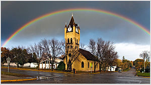 Pelican Rapids, Minnesota - Rainbow at Faith Lutheran Church in Pelican Rapids