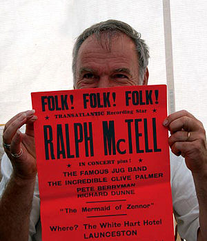 Ralph McTell - Cornwall connection – Ralph McTell photographed in 2006 holding a poster advertising a late-1960s concert in Launceston