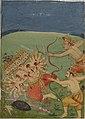 Rama and Lakṣmaṇa attack Ravana, shooting him with many arrows..jpg