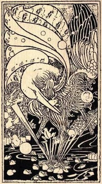 The Frogs Who Desired a King - An art nouveau illustration by Charles Robinson from an 1895 edition