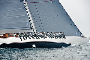 J-class yacht - Crew lining the gunwale of J-class yacht Ranger.