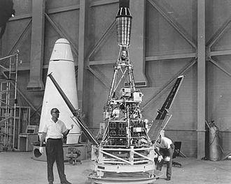 Ranger 1 - Ranger 1 Satellite in preparation for use at the Parade of Progress Show at the Public Hall, Cleveland, Ohio, August 1964