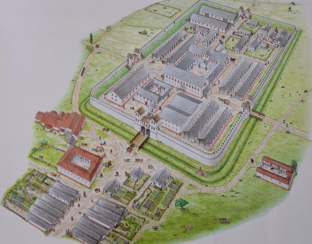 Kastell Saalburg, Rekonstruktion. Reconstruction drawing of Saalburg Roman Fort (34710668676)
