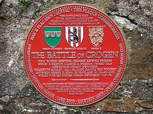 Battle of Crogen - Red plaque of the Battle of Crogen