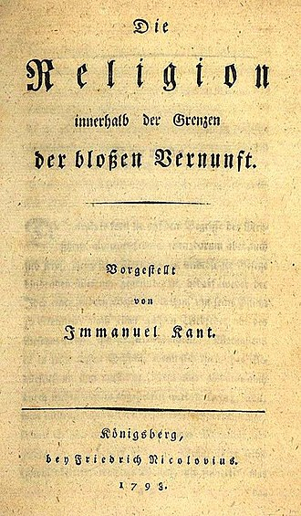 Religion within the Bounds of Bare Reason - The German edition
