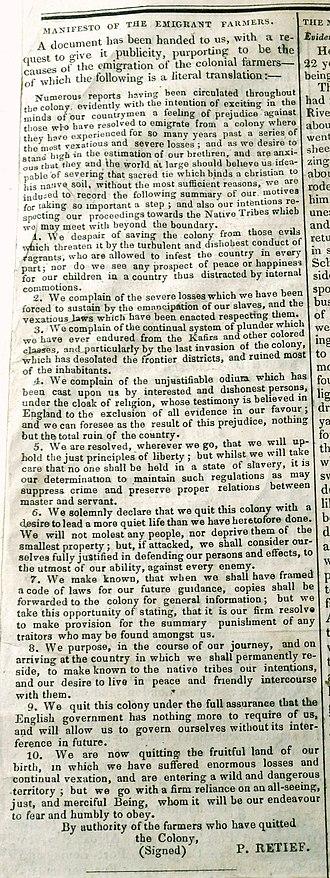 Piet Retief - Image: Retief manifesto, 2 Feb 1837, Graham's Town Journal