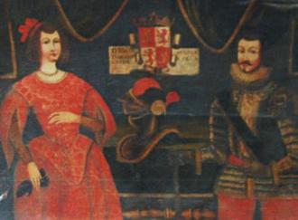 Blanca de la Cerda y Lara - Blanca de La Cerda and Don Juan Manuel, in a 17th-century Portuguese painting series depicting the ancestors of the Manuel family (Ficalho Palace, Serpa, Portugal)