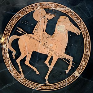 Ancient Greek art - Interior of an Attic red-figure cup, about 450
