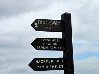 The Ridgeway - The distinctive black Ridgeway signposts are made from 'Plaswood', an environmentally friendly and maintenance-free plastic material made from recycled waste.