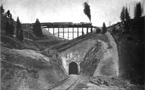 Rollins Pass - Riflesight Notch railroad trestle on the way up Rollins Pass in 1903.