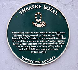 Photo of Theatre Royal, Ripon, George John Bennett, and Edmund Kean green plaque