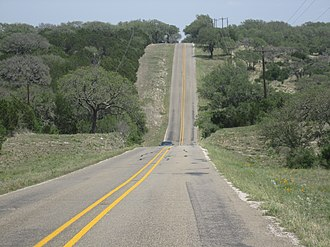 Burnet County, Texas - Rolling highway in Burnet County in Texas Hill Country toward Longhorn Cavern State Park