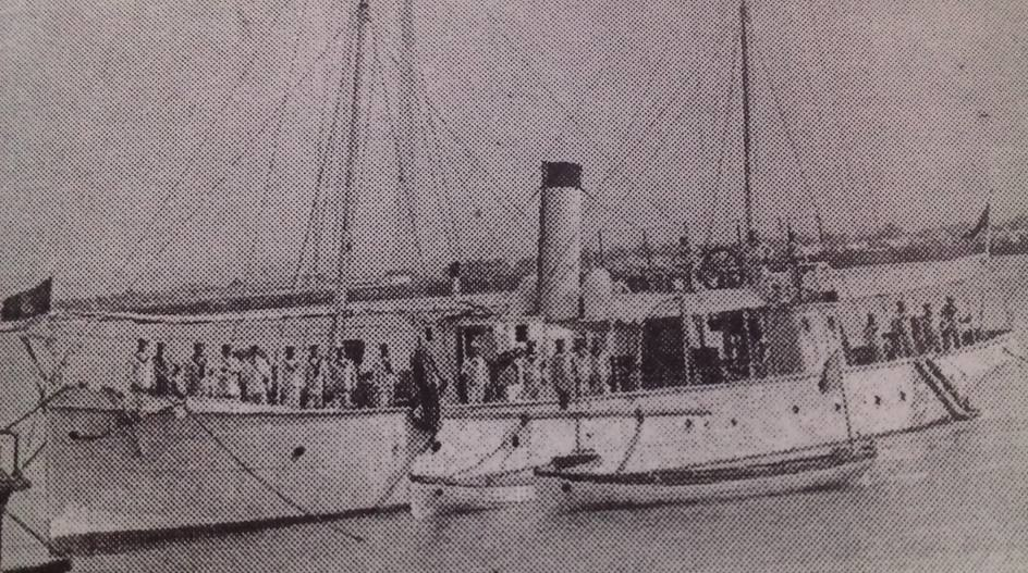 Romanian gunboat Grivița at Nicopol, 1913