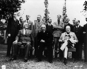 İsmet İnönü - Roosevelt, İnönü and Churchill at the Second Cairo Conference on 4–6 December 1943.