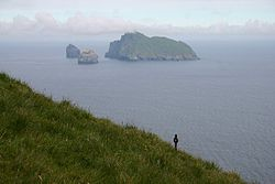 St Kildans paid some of their rent by collecting seabirds; roping pegs allowed abseiling down to the nests. One of these can still be seen at the centre right of this picture.