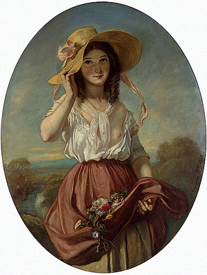 Camille Roqueplan - Girl with Flowers (1843)