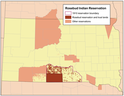 Location of Rosebud Indian Reservation, South Dakota