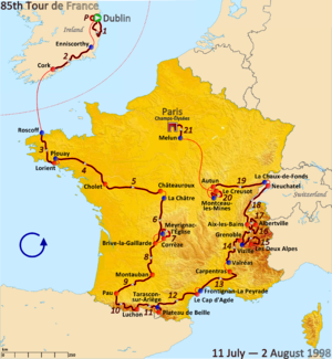 1998 Tour de France - Route of the 1998 Tour de France