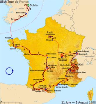 1998 Tour de France - Route of the 1998 Tour de France