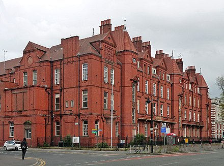 The former hospital building in Oxford Road (Grade II listed) Royal Eye Hospital, Manchester.jpg