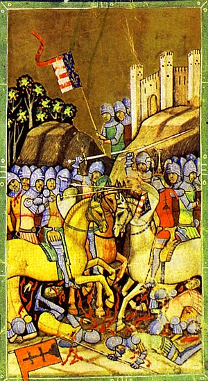 Charles I of Hungary - The Battle of Rozgony depicted in the Illuminated Chronicle: in this battle, Charles defeated the sons of Amadeus Aba on 15 June 1312