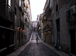 An example of the sloping streets leading into the Bairro Alto district