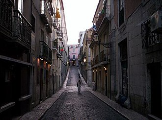 Bairro Alto - An example of the sloping streets leading into the Bairro Alto district