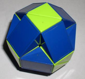 Rhombicuboctahedron - Rubik's Snake in a ball solution: nonuniform concave rhombicuboctahedron.