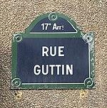 Rue Guttin (Paris) - plaque.JPG