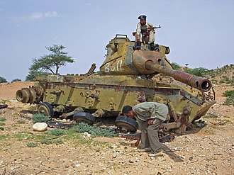 M47 Patton - A destroyed M47 Patton in Somalia, left behind wrecked from the Somali Civil War.