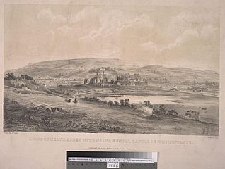 Ruins of Neath Abbey with Neath & Gnoll castle in the distance
