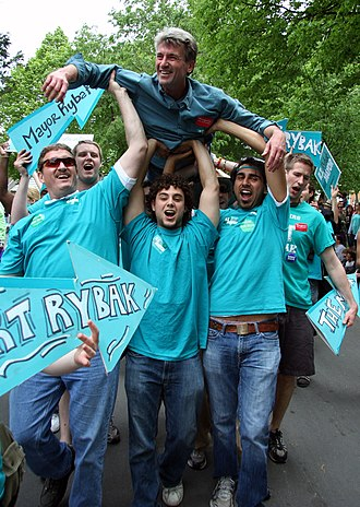 R. T. Rybak - Rybak crowd surfing in a Minneapolis parade