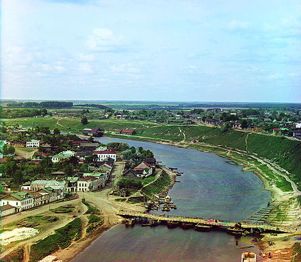 Rzhev is the uppermost town situated on the Volga (photographed c. 1910) Rzhev.jpg