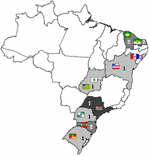 2008 Campeonato Brasileiro Série B - Participating teams of the Brazilian Championship of 2008, divided by state.
