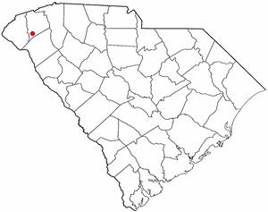 Central, South Carolina - Image: SC Map doton Central