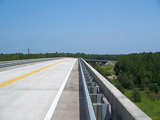 Florida State Road 19 - SR 19 over the Cross Florida Barge Canal, looking north