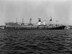 USNS Observation Island (T-AGM-23) - Empire State Mariner in harbor, c.1954.