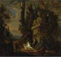 STILL LIFE OF A CHICKEN, A TURKEY, A PHEASANT AND A GOAT IN AN EXTENSIVE CLASSICAL LANDSCAPE.PNG