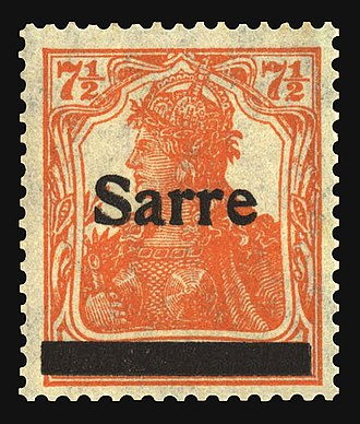 Saarland - A postage stamp from the French occupation of Saarland (Sarre in French)