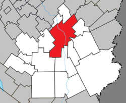 Location within Beauce-Sartigan RCM.